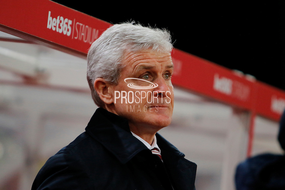 Stoke City manager Mark Hughes during the Premier League match between Stoke City and Watford at the Britannia Stadium, Stoke-on-Trent, England on 3 January 2017. Photo by Richard Holmes.