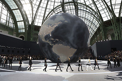 Models display creations by designer Karl Lagerfeld for fashion house Chanel as part of the Fall-Winter 2013/2014 Ready-to-Wear Paris Fashion Week, at Grand Palais in Paris, France on March 5, 2013. Photo by Frederic Nebinger/ABACAPRESS.COM