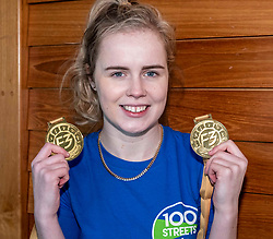"""Pictured: Marie Lyle proudly shows off her gold medals for the 100 and 200m at the World ParaAthletics Grand Prix in Dubai last week.<br /><br />Athlete Maria Lyle, was joined by rugby legend Scott Hastings and his wife Jenny  today in Edinburgh to launch national Mental Health charity Support in Mind Scotland's """"100 Streets Challenge"""" for 2019. The campaign encourages people to walk, run or cycle 100 streets in their communities. <br /><br />Ger Harley 