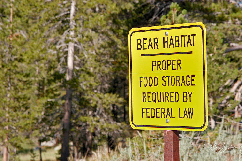 Sign warning of bear habitat, Tuolumne Meadows, Yosemite National Park, California