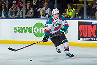 KELOWNA, CANADA - MARCH 3: Kole Lind #16 of the Kelowna Rockets skates with the puck against the Spokane Chiefs  on March 3, 2018 at Prospera Place in Kelowna, British Columbia, Canada.  (Photo by Marissa Baecker/Shoot the Breeze)  *** Local Caption ***