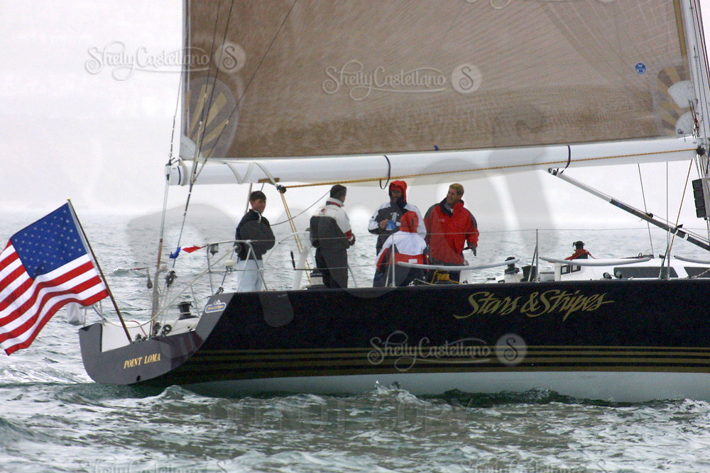 Apr 26, 2002; Newport Beach, California, USA; STEVE FOSSETT'S 'Stars and Stripes' crew members at the start of the 55th annual 125 mile Newport to Ensenada International Yacht Race in the Pacific Ocean<br />Mandatory Credit: Photo by Shelly Castellano/ZUMA PRESS.<br />(&copy;) Copyright 2002 by Shelly Castellano