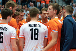 11-08-2019 NED: FIVB Tokyo Volleyball Qualification 2019 / Netherlands - USA, Rotterdam<br /> Final match pool B in hall Ahoy between Netherlands vs. United States (1-3) and Olympic ticket  for USA / Wessel Keemink #2 of Netherlands, Maarten van Garderen #3 of Netherlands