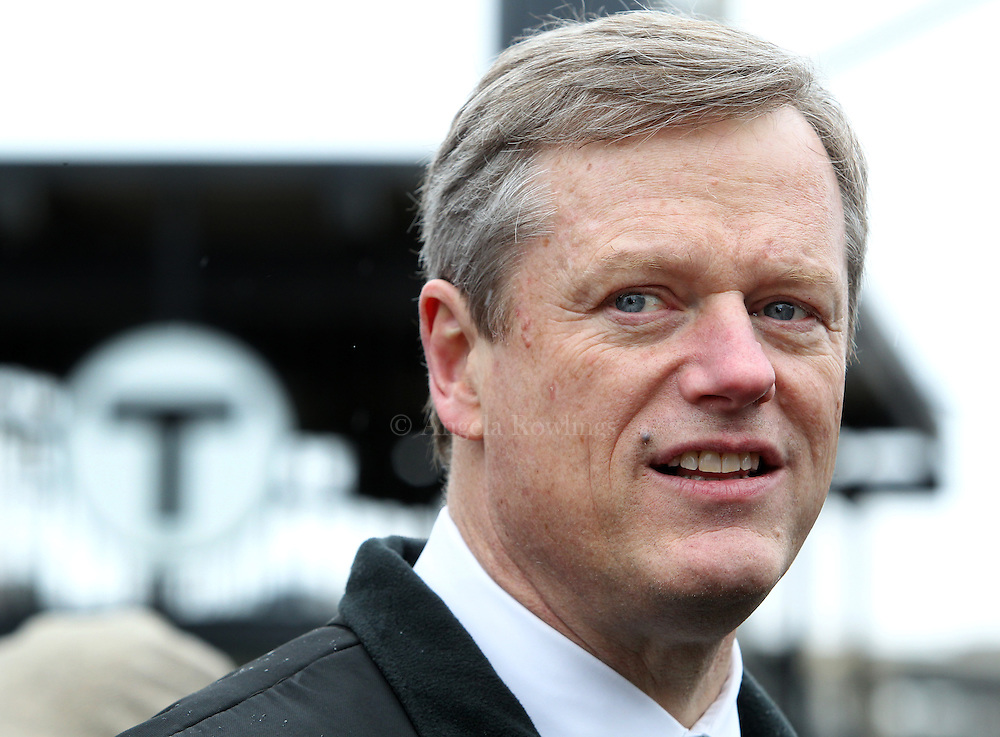 (Boston, MA - 3/15/15) Gov. Charlie Baker speaks with reporters prior to marching in the St. Patrick's Day Parade in South Boston, Sunday, March 15, 2015. Staff photo by Angela Rowlings.