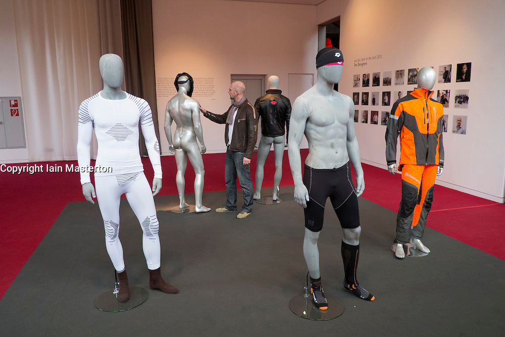 Modern high technology clothing on display at Red Dot Design Museum in Essen Germany