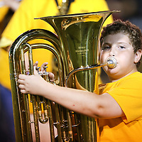 Adam Robison | BUY AT PHOTOS.DJOURNAL.COM<br /> Pontotoc Middle School student Nolan Guntharp plays his Tuba during Band night at the Pontotoc game against Amory Friday night in Pontotoc