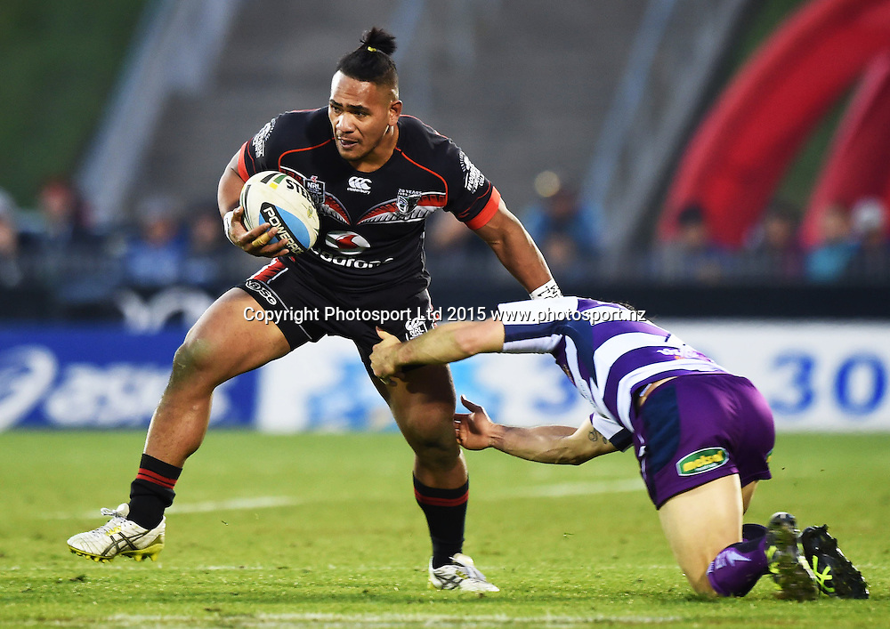 Solomone Kata during the NRL Rugby League match between the Vodafone Warriors and The Melbourne Storm at Mt Smart Stadium, Auckland, New Zealand. Sunday 12 July 2015. Copyright Photo: Andrew Cornaga / www.Photosport.nz