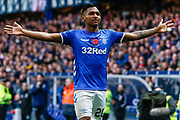 Arms open wide, Alfredo Morelos of Rangers shows the fans some love during the Ladbrokes Scottish Premiership match between Rangers and Motherwell at Ibrox, Glasgow, Scotland on Sunday 11th November 2018.