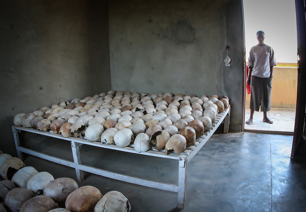 Skulls of victims on display at the Murambi Genocide Memorial Centre, at the site of the former Murambi Technical School where some 45,000 Tutsi were murdered  during the Rwandan Genocide.