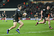 Hull FC full back Jamie Shaul (1) makes a break which leads to a Hull FC try scored by Hull FC utility player Jordan Lane (22)  during the Betfred Super League match between Hull FC and Castleford Tigers at Kingston Communications Stadium, Hull, United Kingdom on 7 February 2019.