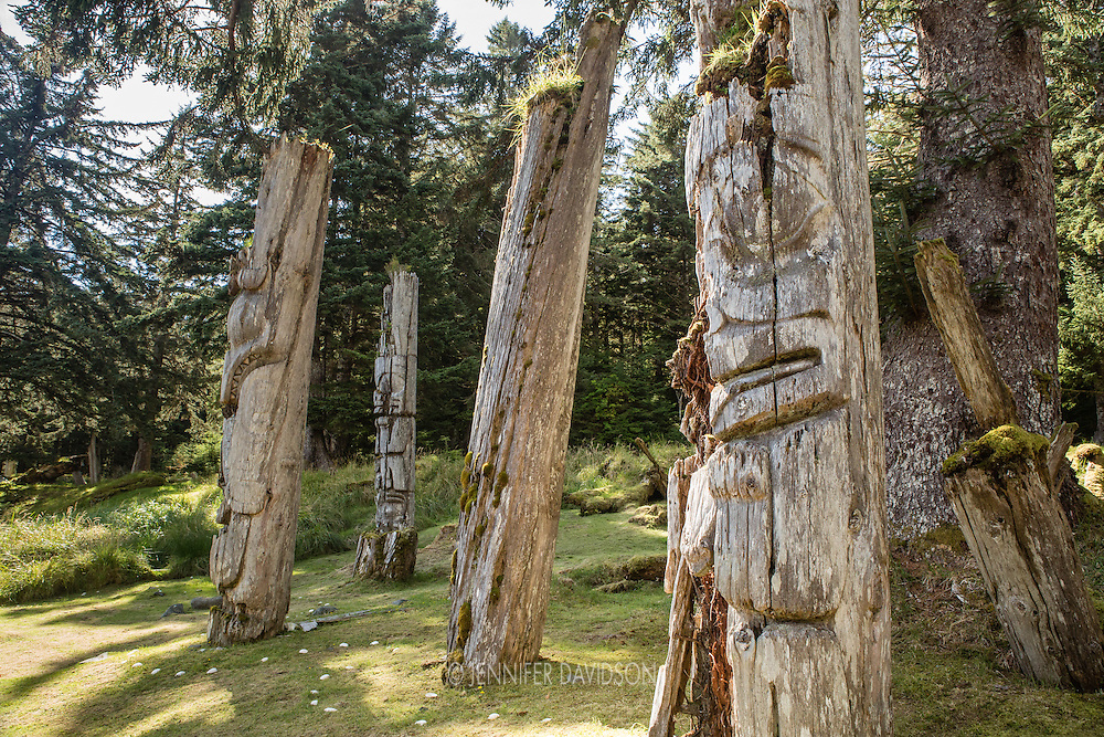 Mortuary poles at SGang Gwaay, a UNESCO World Heritage Site in Haida Gwaii.