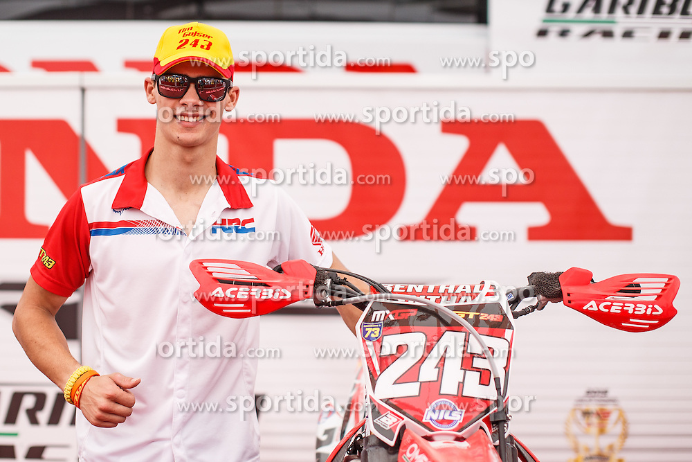 Tim Gajser of Slovenija #243 posing at his bike before MXGP race for MXGP Championship in Mantova, Italy on 26th of June, 2016 in Italy Photo by Grega Valancic / Sportida