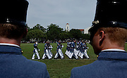 Senior graduating cadets watch underclassmen during the Long Grey Line graduation parade May 8, 2009 at the Citadel in Charleston, SC. This graduating marks the 10-year anniversary of the first female to graduate from The Citadel, Nancy Mace.  The Citadel was founded in 1842.