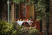 Breakfast setting on verandah of B&B near Maitland, NSW, Australia