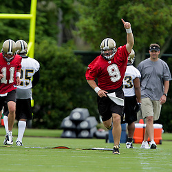 05 June 2009: Saints quarterback Drew Brees (9) leads his team to the next drill during the New Orleans Saints Minicamp held at the team's practice facility in Metairie, Louisiana.