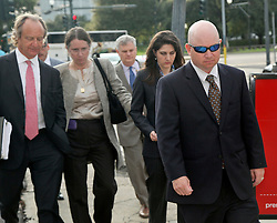 01 June  2015. New Orleans, Louisiana. <br /> Ryan LeBlanc (rt), his sister Rita Benson LeBlanc and their mother Renee LeBlanc leave Civil Distrcit Court with lawyers after attending a hearing to determine the competency of grandfather/father Tom Benson. Benson is the billionaire owner of the NFL New Orleans Saints, the NBA New Orleans Pelicans, various Mercedes dealerships, banks, property assets and a slew of business interests. Rita, her brother and mother demanded a competency hearing after Benson changed his succession plans and decided to leave the bulk of his estate to third wife Gayle, sparking a controversial fight over control of the Benson business empire.<br /> Photo©; Charlie Varley/varleypix.com