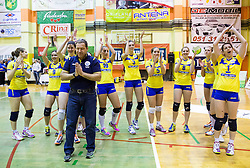 Players and head coach of Luka Koper after the volleyball match between Nova KBM Branik Maribor and OK Luka Koper in Final of Women Slovenian Cup 2014/15, on January 18, 2015 in Sempeter v Savinjski dolini, Slovenia. Photo by Vid Ponikvar / Sportida