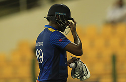 September 17, 2018 - Abu Dhabi, United Arab Emirates - Sri Lankan cricket captain Angelo Mathews walks back following his dismissal during the 3rd cricket match of Asia Cup 2018 between Sri Lanka and Afghanistan at the Sheikh Zayed Stadium,Abu Dhabi, United Arab Emirates. 09-17-2018  (Credit Image: © Tharaka Basnayaka/NurPhoto/ZUMA Press)