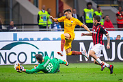 Stephan El Shaarawy of AS Roma in duel with Gianluigi Donnarumma and Davide Calabria of AC Milan during the Italian championship Serie A football match between AC Milan and AS Roma on August 31, 2018 at San Siro stadium in Milan, Italy - Photo Morgese - Rossini / ProSportsImages / DPPI
