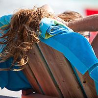 Hair blows in the beach breeze at St. Pete Beach.