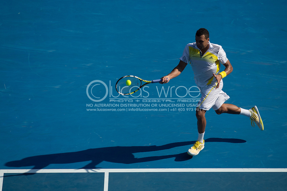 Jo-Wilfried Tsonga (FRA). Day 8. Round 4. Melbourne Olympic Park, Melbourne, Victoria, Australia. 21/01/2013. Photo By Lucas Wroe