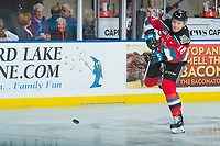 KELOWNA, CANADA - OCTOBER 13: Carsen Twarynski #18 of the Kelowna Rockets takes a shot during warm up against the Calgary Hitmen on October 13, 2017 at Prospera Place in Kelowna, British Columbia, Canada.  (Photo by Marissa Baecker/Shoot the Breeze)  *** Local Caption ***