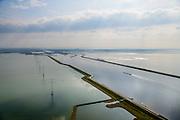 Nederland, Zeeland, Gemeente Reimerswaal, 01-04-2016; Markiezaatskade met Markiezaatsmeer (links) en Schelde-Rijnverbinding en Oosterschelde (rechts). Kreekraksluizen in de achtergrond. De Markiezaatskade is oorspronkelijk aangelegd als hulpdam voor de bouw van de Oesterdam. Speelt belangrijke rol in de zoetwaterhuishouding.<br /> <br /> Markiezaatskade, division between salt and sweet water, part of the Delta Works.<br /> <br /> luchtfoto (toeslag op standard tarieven);<br /> aerial photo (additional fee required);<br /> copyright foto/photo Siebe Swart