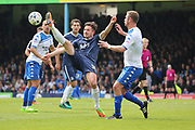 Bury attacker Tom Pope (11) battles for possession with Southend United defender Ryan Leonard (18) during the EFL Sky Bet League 1 match between Southend United and Bury at Roots Hall, Southend, England on 30 April 2017. Photo by Matthew Redman.