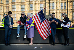 © Licensed to London News Pictures. 29/03/2019. London, UK. Pro-Brexit campaigners demonstrate around Westminster on the day that Britain was originally due to leave the European Union. MPs today rejected Theresa May's withdrawal deal for the third time. Photo credit : Tom Nicholson/LNP