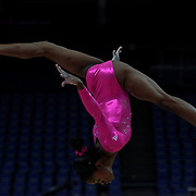 Gabrielle Douglas, USA, in action on the beam during the Women's Artistic Gymnastics podium training at North Greenwich Arena during the London 2012 Olympic games preparation at the London Olympics. London, UK. 26th July 2012. Photo Tim Clayton