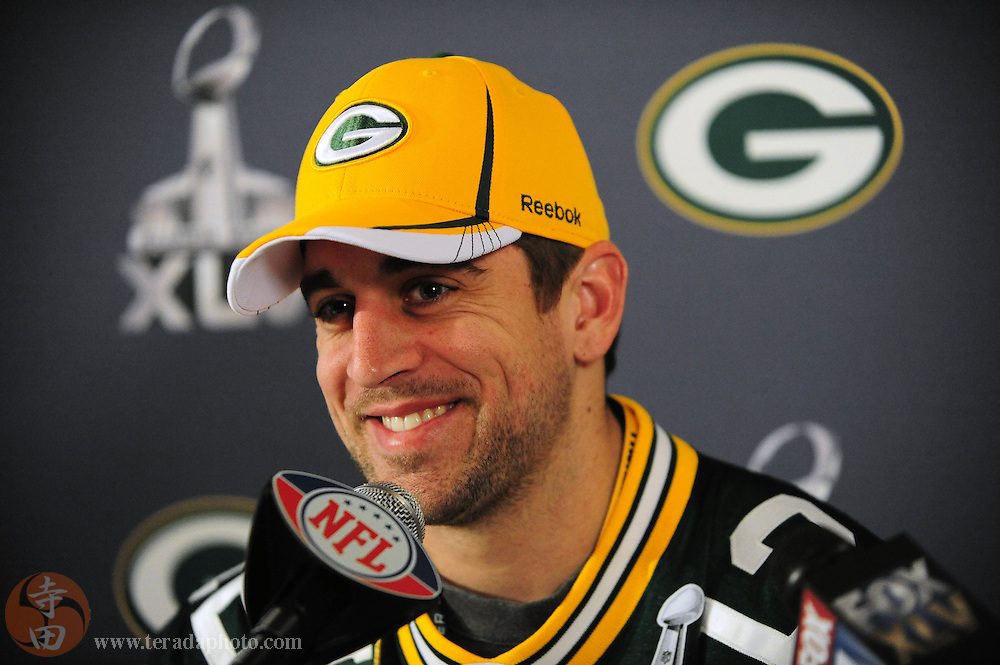 February 3, 2011; Irving, TX, USA; Green Bay Packers quarterback Aaron Rodgers addresses the media during a press conference for Super Bowl XLV at Omni Mandalay Hotel. Mandatory Credit: Kyle Terada-Terada Photo