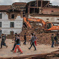 collapsed site in Kathmandu, Nepal 27 april 2015 following the devastating 7.9 magnitude earthquake that hit the country 25 April 2015.