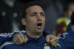 March 22, 2019 - Madrid, Madrid, Spain - Lionel Scaloni coach of Argentina during the Friendly football match between Argentina and Venezuela at Wanda Metropolitano Stadium in 22 March 2019, Madrid, Spain, preparatory for the Copa América Brazil 2019 to be played from June 14 to July 7. (Credit Image: © Patricio Realpe/NurPhoto via ZUMA Press)