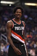 Oct 11, 2017; Phoenix, AZ, USA; Portland Trail Blazers forward Ed Davis (17) reacts in the game against the Phoenix Suns at Talking Stick Resort Arena. Mandatory Credit: Jennifer Stewart-USA TODAY Sports