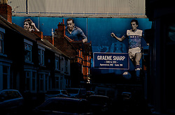 LIVERPOOL, ENGLAND - Sunday, December 4, 2016: A mural of former Everton player Graeme Sharp outside Goodison Park Stadium bathed in Winter sunshine before the FA Premier League match against Manchester United at Goodison Park. (Pic by Gavin Trafford/Propaganda)
