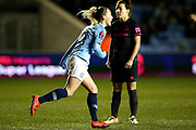 Manchester City midfielder Keira Walsh (24) celebrates her goal 1-1 during the FA Women's Super League match between Manchester City Women and Everton Women at the Sport City Academy Stadium, Manchester, United Kingdom on 20 February 2019.
