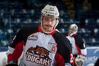 KELOWNA, CANADA - DECEMBER 5: Chance Braid #22 of Prince George Cougars warms up against the Kelowna Rockets on December 5, 2014 at Prospera Place in Kelowna, British Columbia, Canada.  (Photo by Marissa Baecker/Shoot the Breeze)  *** Local Caption *** Chance Braid;