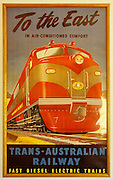 Historic Trans-Australian Railway poster at the Museum of the Ghan Preservation Society.