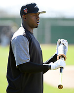 GLENDALE, ARIZONA - FEBRUARY 20:  Luis Robert #92 of the Chicago White Sox looks on while preparing to bat during a spring training workout February 20, 2018 at Camelback Ranch in Glendale Arizona.  (Photo by Ron Vesely)  Subject:   Luis Robert