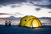 Alaska. Kenai Peninsula. Cook Inlet and Mt Redoubt. Winter camping.