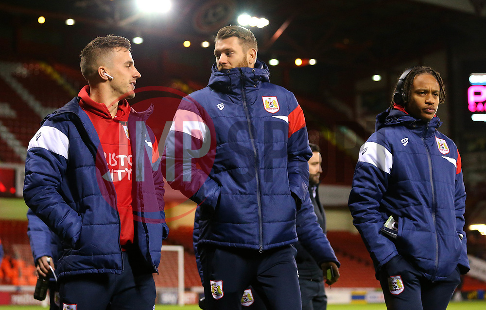 Joe Bryan, Nathan Baker and Bobby Reid of Bristol City arrive at Bramall Lane for the fixture against Sheffield United - Mandatory by-line: Robbie Stephenson/JMP - 08/12/2017 - FOOTBALL - Bramall Lane - Sheffield, England - Sheffield United v Bristol City - Sky Bet Championship