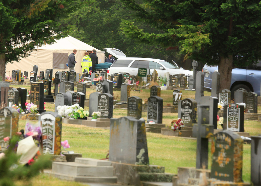 New developments in the Hayden Miles murder case, as more remains are removed from Memorial Cemetery, Christchurch, New Zealand, Thursday, December 15, 2011.  Credit:SNPA / Pam Johnson