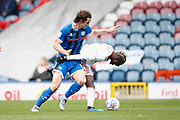 Jordan Williams of Rochdale and Lamine Sherif of Accrington contest a loose ball during the EFL Sky Bet League 1 match between Rochdale and Accrington Stanley at the Crown Oil Arena, Rochdale, England on 12 October 2019.