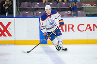 PENTICTON, CANADA - SEPTEMBER 17: Tomas Soustal #41 of Edmonton Oilers warms up against the Calgary Flames on September 17, 2016 at the South Okanagan Event Centre in Penticton, British Columbia, Canada.  (Photo by Marissa Baecker/Shoot the Breeze)  *** Local Caption *** Tomas Soustal;