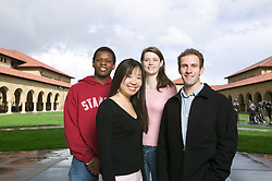Stanford transfer students: (L-R) Tapiwa Mabaye, Carolyn Chiang, Gillian Gentry, Scott Hartley in Stanford Quad