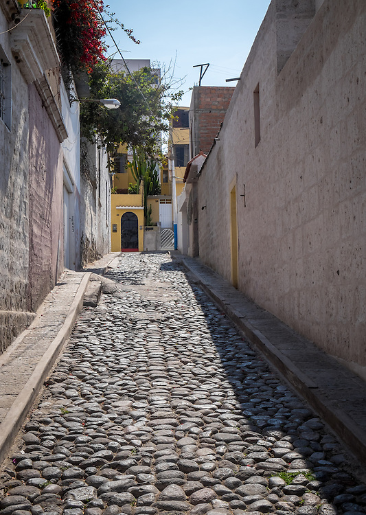 AREQUIPA, PERU - CIRCA APRIL 2014: View of typical street of Yanahura in Arequipa. Arequipa is the Second city of Perú by population with 861,145 inhabitants and is the second most industrialized and commercial city of Peru.