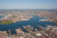 Aerial photo of the Maryland Port Administration Clinton Terminal with Baltimore City in background
