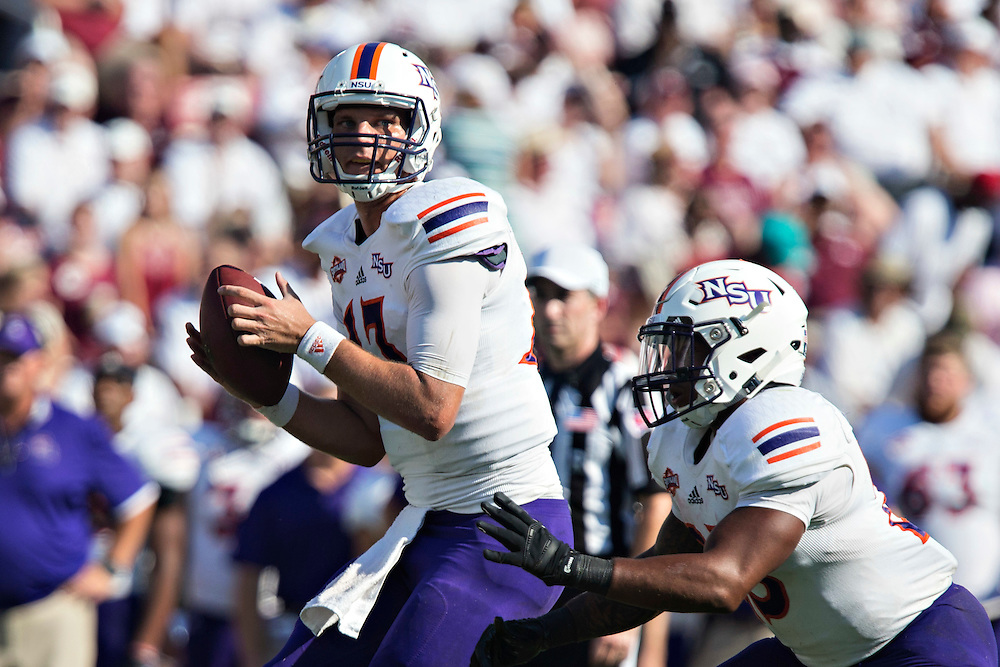 STARKVILLE, MS - SEPTEMBER 19:  Stephen Rivers #13 of the Northwestern State Demons drops back to pass during a game against the Mississippi State Bulldogs at Davis Wade Stadium on September 19, 2015 in Starkville, Mississippi.  The Bulldogs defeated the Demons 62-13.  (Photo by Wesley Hitt/Getty Images) *** Local Caption *** Stephen Rivers