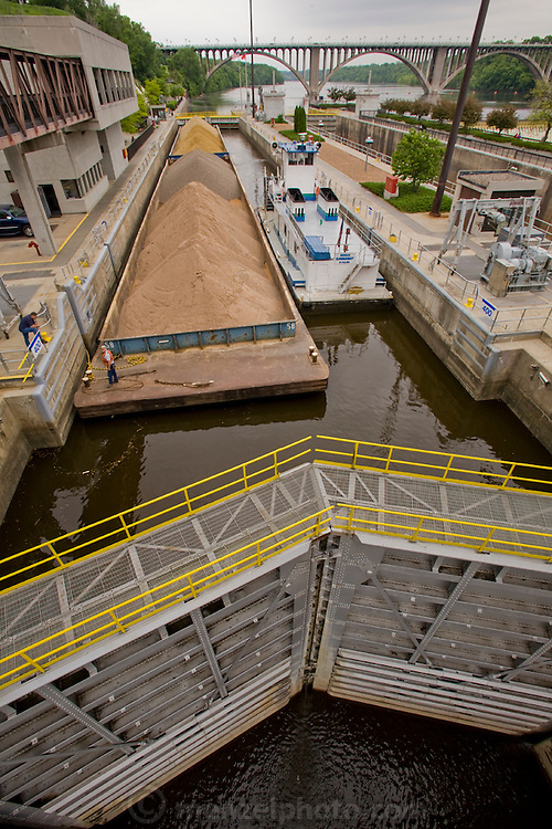 The lock and dam on the upper Mississippi River in Minneapolis, Minnesota, where head lock and dam number 1 operator John MacQuiston works.