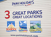 Park Holidays locations advert on caravan, Essex, England